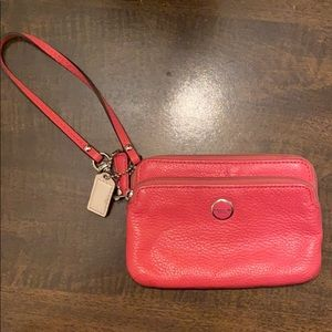 Coach 2 Pocket Leather Wristlet